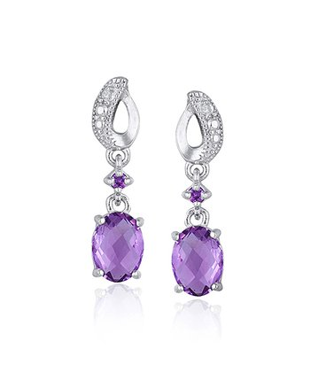Amethyst & Diamond Oval Dangle Drop Earrings