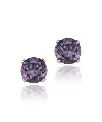 Amethyst & Sterling Silver Solitaire Stud Earrings