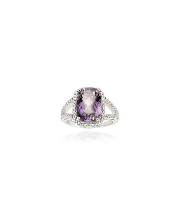 Amethyst & Diamond Oval Double Band Ring
