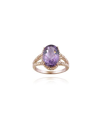 Amethyst & Rose Gold Oval Ring