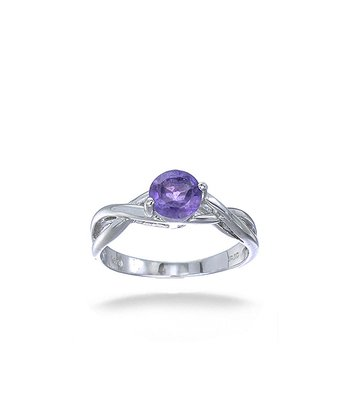 Amethyst & Sterling Silver Round Solitaire Braid Ring