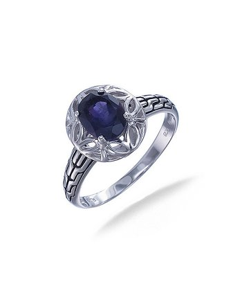 Amethyst & Sterling Silver Oval Filigree Ring
