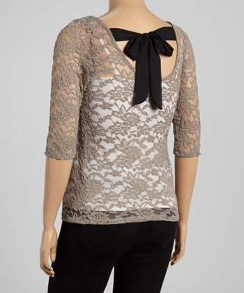 Mocha & Black Lace Bow Tie-Back Top - Plus