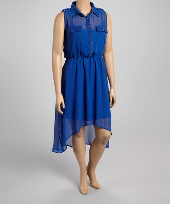 Royal Blue Button-Up Hi-Low Dress - Plus