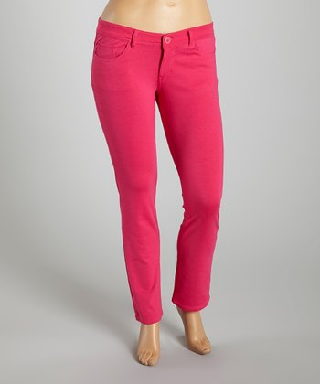Fuchsia Bootcut Pants - Plus