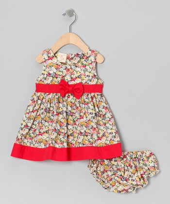 Red Floral Bow Dress & Diaper Cover - Infant