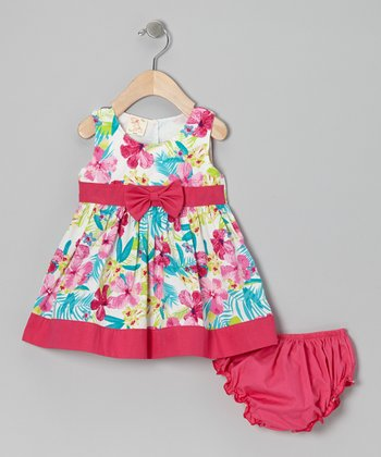 Fuchsia Water Lily Bow Dress & Diaper Cover - Infant