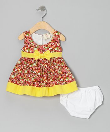 Coral & Yellow Floral Bow Dress & Diaper Cover - Infant