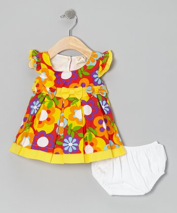 Yellow Big Blossom Bow Angel-Sleeve Dress & Diaper Cover - Infant
