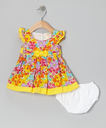 Yellow Flower Bow Angel-Sleeve Dress & Diaper Cover - Infant