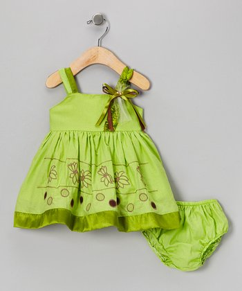 Green Flower Babydoll Dress & Diaper Cover - Infant