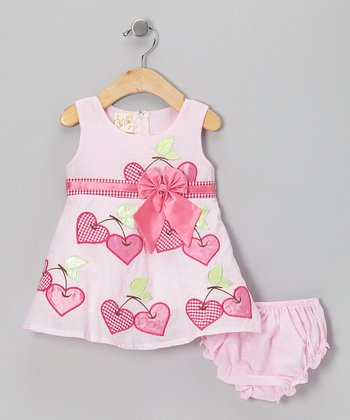 Pink Cherry Heart Bow Dress & Diaper Cover - Infant