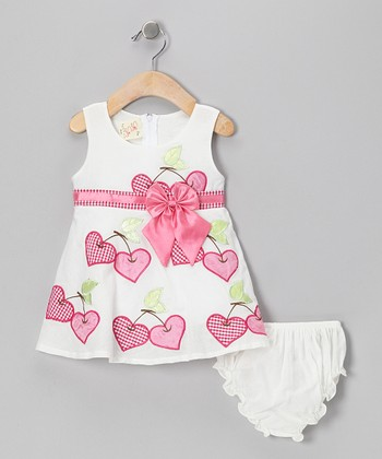 White & Pink Cherry Heart Bow Dress & Diaper Cover - Infant