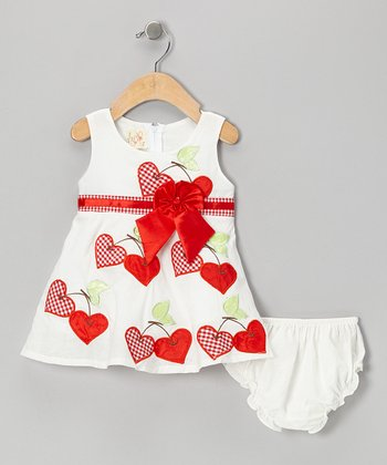 Red Cherry Heart Dress & Diaper Cover - Infant, Toddler & Girls