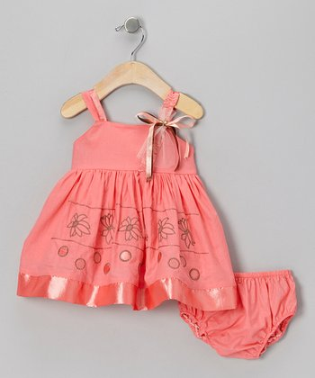 Coral Flower Babydoll Dress & Diaper Cover - Infant
