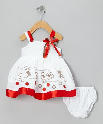 White & Red Flower Babydoll Dress & Diaper Cover - Infant