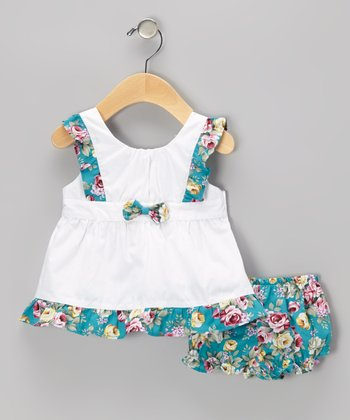 Blue Floral Bow Dress & Ruffle Bloomers - Infant & Toddler