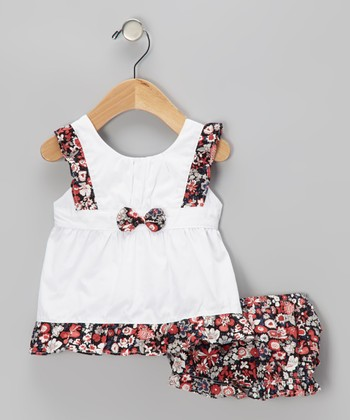 Red Floral Bow Dress & Ruffle Bloomers - Infant & Toddler