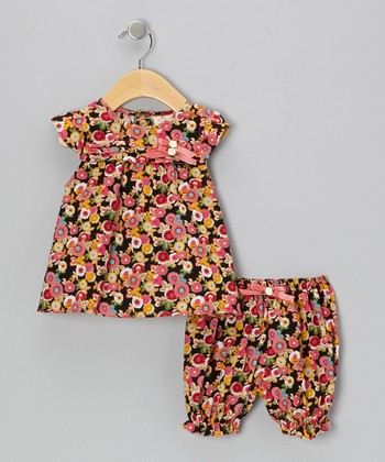 Black & Pink Flower Blossom Dress & Bloomers - Infant