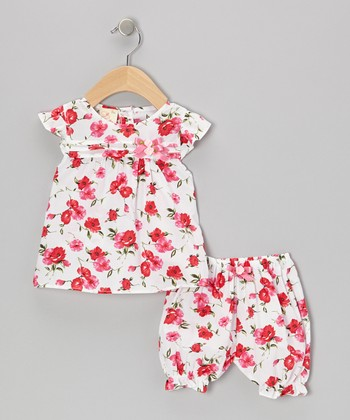 White & Pink Flower Blossom Dress & Bloomers - Infant