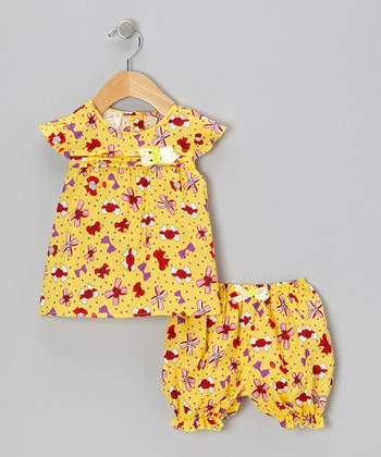 Yellow Bow Bundle Dress & Bloomers - Infant