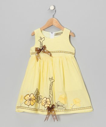 Yellow Flower Giraffe Bow Dress - Toddler & Girls