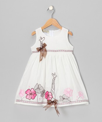 White Flower Giraffe Bow Dress - Toddler & Girls