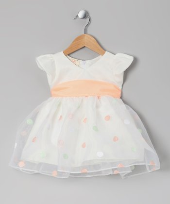 Ivory & Peach Polka Dot Dress - Infant & Toddler