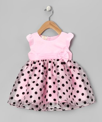 Pink & Black Polka Dot Dress - Toddler