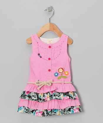 Pink Patchwork Button-Up Dress - Infant, Toddler & Girls