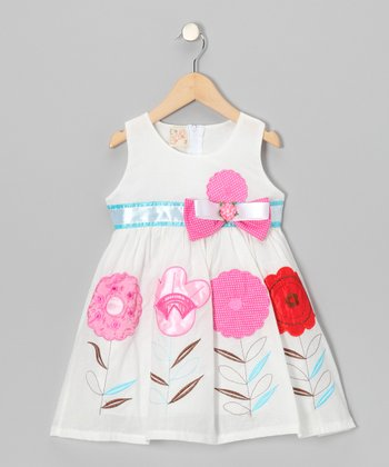 White Flower Sprout Bow Dress - Toddler & Girls
