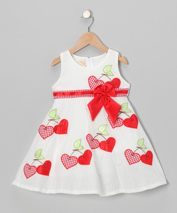 White Cherry Heart A-Line Dress - Toddler & Girls