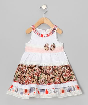 Cream Floral Stripe Bow Dress - Infant, Toddler & Girls