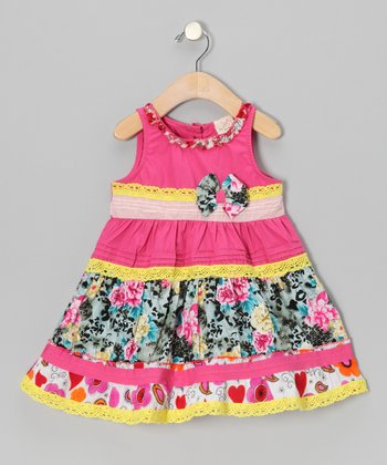 Pink Floral Stripe Bow Dress - Infant, Toddler & Girls
