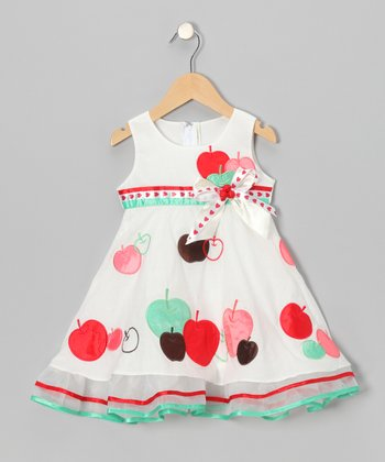 White Apple Bow A-Line Dress - Toddler & Girls