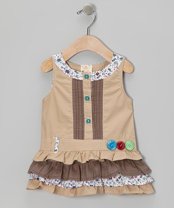 Khaki Ruffle Button Dress - Infant, Toddler & Girls