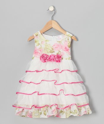 White & Pink Tiered Tulle Ruffle Dress - Toddler & Girls