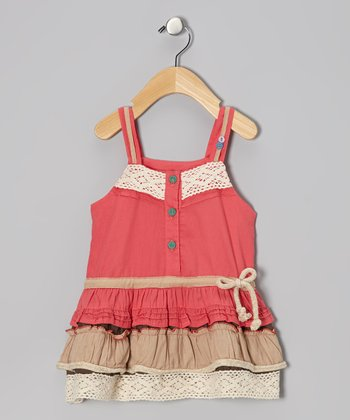 Coral & Khaki Drop-Waist Dress - Infant, Toddler & Girls