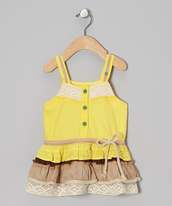 Yellow & Khaki Drop-Waist Dress - Infant, Toddler & Girls