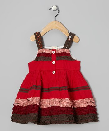 Red & Maroon Ruffle Dress - Infant, Toddler & Girls