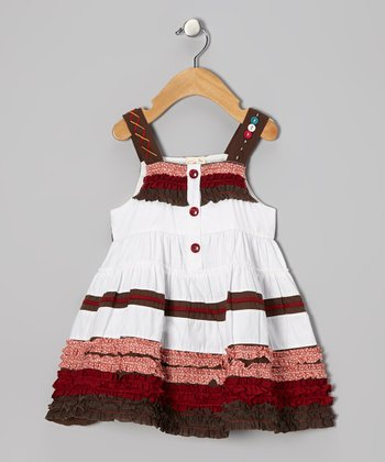 White & Maroon Ruffle Dress - Infant, Toddler & Girls