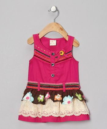 Fuchsia Floral Drop-Waist Dress - Infant, Toddler & Girls