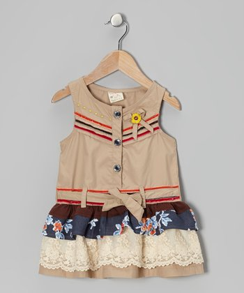 Khaki Floral Drop-Waist Dress - Infant, Toddler & Girls