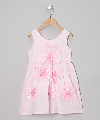 Pink Rosette A-Line Dress - Toddler & Girls