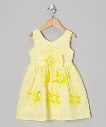 Yellow Rosette A-Line Dress - Toddler & Girls