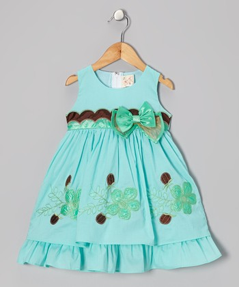 Aqua Bow Layered A-Line Dress - Toddler & Girls