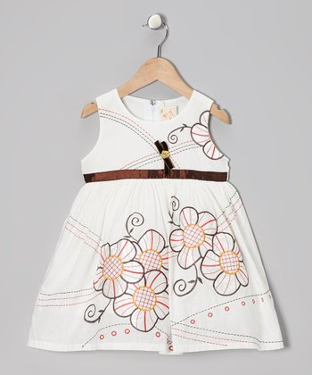 White & Brown Flower Dress - Toddler & Girls