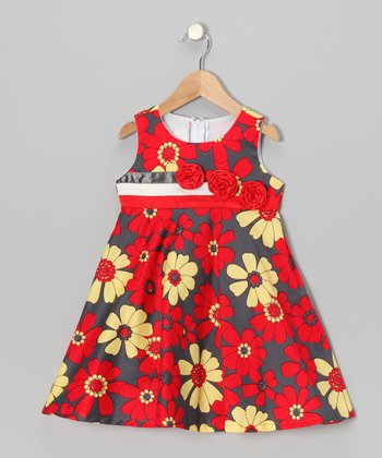 Red & Gray Lily Flower A-Line Dress - Toddler & Girls
