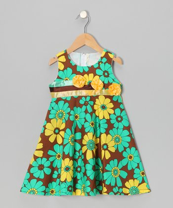 Teal & Chocolate Lily Flower A-Line Dress - Toddler & Girls