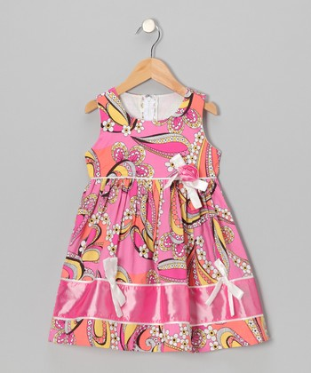 Pink Flower & Bow Parade Dress - Toddler & Girls